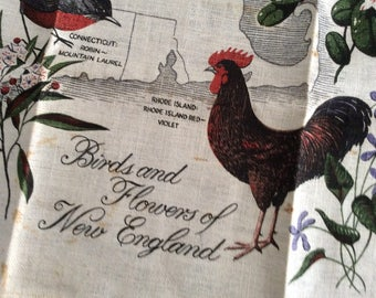 TWITCHERS for you! Birds and Flowers of New EnglandLinen/Cotton Kitchen/TeaTowel,  by R Batchelder for KayDee, Wall Hanging, New Old Stock