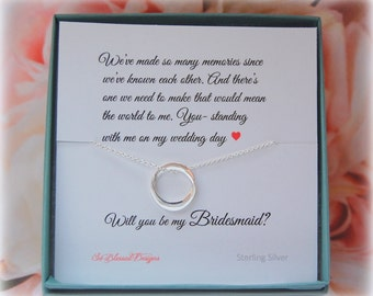 Bridesmaid card and necklace gift set, bridesmaid gifts, bridal party gifts, wedding jewelry, asking bridesmaids, So Blessed Designs