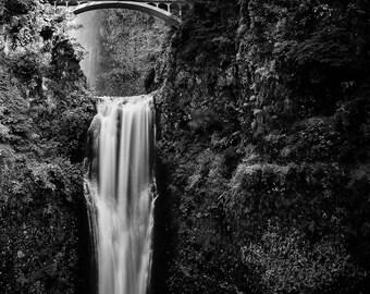 Multnomah Falls - Oregon - Landscape - Black and White - 8x10 to 24x30 - Art Print
