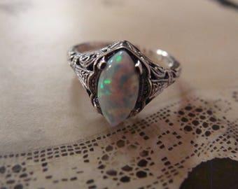 Lovely Sterling Opal Filigree Ring Size  5.75