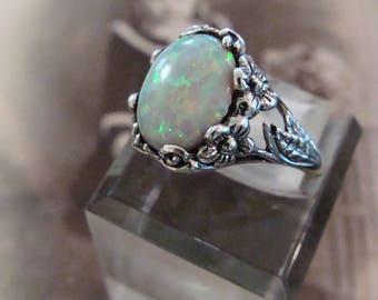 Art Nouveau design Sterling Opal  Ring  Size 5