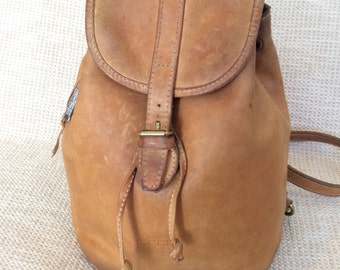 Genuine vintage BREE natural tan leather backpack rucksack front flap