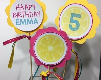 Lemonade Birthday Center Piece, Girl Birthday center pieces, Center pieces, Lemonade center pieces