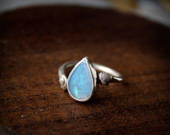 Opal ring with tiny seashells mermaid summer ocean ring handmade sterling silver