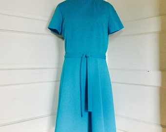 1960's Womens Vintage Aqua Blue Studded Gogo Mini Dress R&K Knits Medium Extra Large 8 - 16