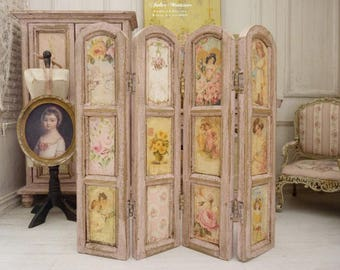 French Miniature, Wooden screen, Painted pink, Pastel colors, Victorian prints, Children chromos, French dollhouse, 1:12th scale
