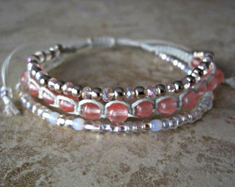 Cherry Quartz, Light Pink Crystal,Stainless Steel,Opal White & Silver Glass Beads, Shamballa Style 3 Layered Bracelet