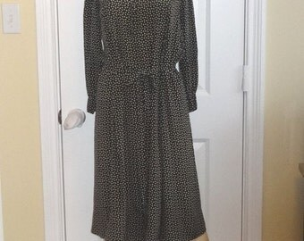1920s Vintage Black & Gray Polka Dot Silk Dress, Front Button, Long Sleeves, Size Small, Self Belt, Edwardian Style, Vintage Clothing, Dress