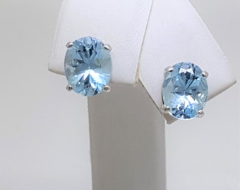 4.12ctw Blue Topaz Sterling Silver Stud Earrings