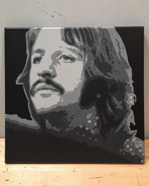 Ringo Starr Custom Pop Art Painting Beatles Canvas Portrait