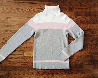 Vintage 90s Color Block Pastel Turtleneck Sweater