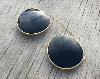 Ray-Ban Clip-On Sunglasses / B L Bausch & Lomb Gold Metal Green Lens / Vintage 1980S