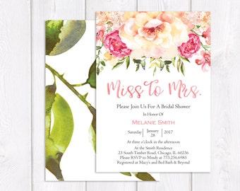 Pink Floral Bridal Shower Invitation Printable, Bridal Shower Invitation, Spring Bridal Shower Invite, Flower Bridal Shower Invitation
