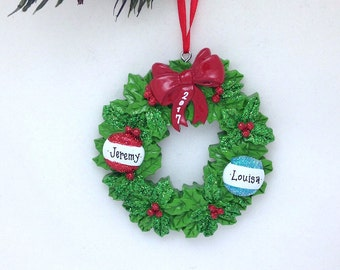 Wreath Personalized Christmas Ornament / 2 Names on a Wreath / Personalized Couple Ornament / Our First Christmas