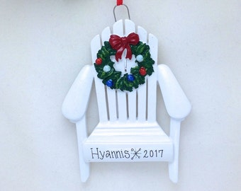 Adirondack Chair with Wreath Personalized Christmas Ornament / Personalized Ornament / Wedding Favor / Cape Cod Ornament