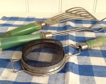 Green Handled Kitchen Utensils - 3 piece Set Farmhouse 1940's