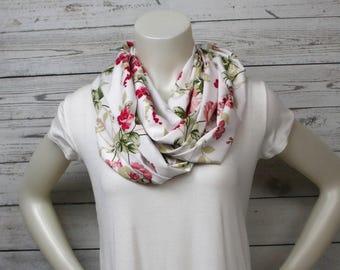 Pink and Green Floral Infinity Scarf