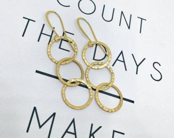 Loops earrings, Gold loops earrings, Gold dangle earrings, Loops dangle earrings, Three loops earrings, Gold dangle earrings, Boho chic