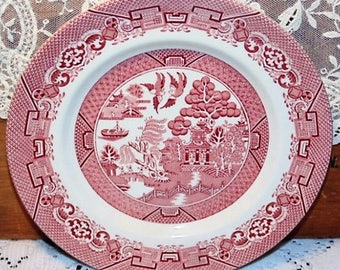 WILLOW Salad Plate Red Transferware Wood & Sons England