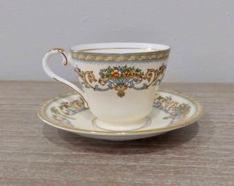 Vintage Aynsley Henley teacup and saucer, aynsley teacup, floral teacup, flower tea set, English bone china