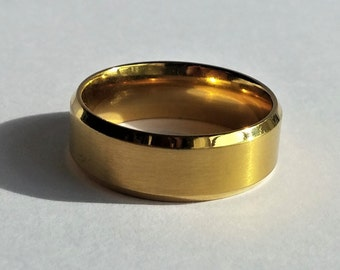 Gold tone brushed Stainless steel Men's ring Size 11.25 Band