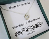 30th Birthday for Her, Sterling Silver Birthday Necklace, 30th Birthday, Milestone Jewelry, Birthday Gift for Her, MarciaHDesigns, MHD