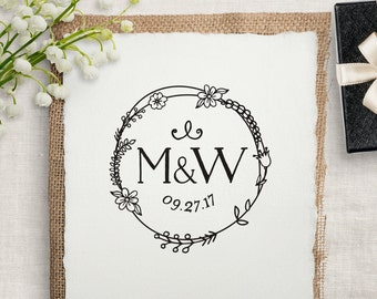 Monogram Wedding Stamp, Custom Rubber Stamp, DIY Wedding Stamp, Wedding Favor Stamp. Custom Wedding Stamp 2x2, 3x3, or 4x4 inches