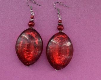 Large red earrings, red beaded earrings, red foil earrings, ruby red earrings, gift for her, red african earrings, chunky earrings, red gift
