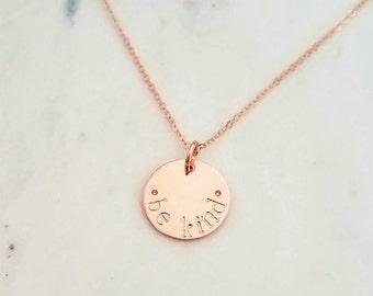Rose Gold Necklace, Rose Gold Disc Necklace, Hand Stamped Necklace, Rose Gold Charm necklace, Personalized Necklace