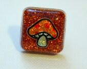 Resin Ring - Mushroom Ring - Resin Jewelry - Glitter Ring - Orange Ring - Square Ring - Glitter Resin - Adjustable Ring - Teen Gift