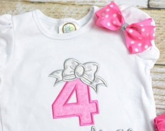 Pink and Silver First (1st, 2nd, 3rd, 4th, 5th) Birthday Shirt, Girls Birthday shirt with bow, Girls Birthday Shirt pink and silver/gray