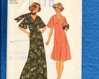 1970's Simplicity 7328 Super Slimming Flared Dress with Flutter Sleeves Size 20.5 UNCUT