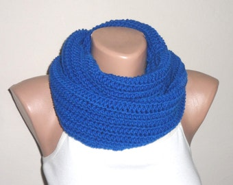 royal blue knit infinity scarf blue circle scarf winter scarf wrap loop scarf woman accessories gift for her