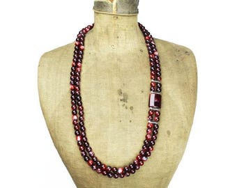 Long Red Bead Necklace, Long Red Necklace, Red Double Strand Necklace, Chunky Red Necklace