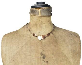 Vintage Copper Necklace, Copper Heart Necklace, Copper Choker Necklace, Heart Choker Necklace, Copper Chain Necklace