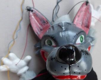 Vintage 1960s Pelham Puppet: RARER Big Bad WOLF in Original BOX Untangled
