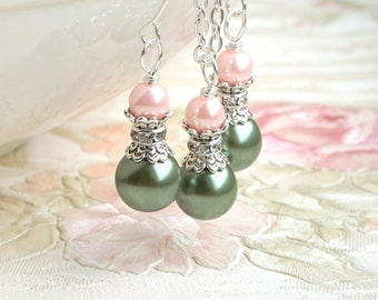 Moss Green Bridesmaid Jewelry Set Green bridesmaid necklace earrings Green Blush pearl rhinestone spacers wedding jewelry beaded jewr JS0835