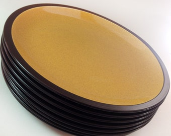 Mikasa Terra Stone Saffron Dinner Plates, Set of 8, 1970s Black, Yellow Stoneware Large Plates, Japan