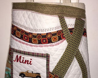 Mini Cooper tote, Hand made patchwork bag,embroidered  mini cooper