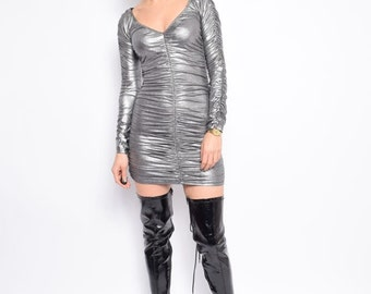 Vintage 90's Silver Long Sleeve Dress / Long Sleeve Sparkling Dress - Size Small