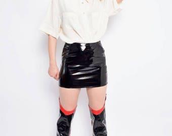 Vintage 80's Cream White Silk Shirt / Short Sleeve Button Shirt / White Silk Button Blouse - Size Medium