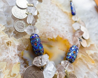 Tribal Fusion Necklace,  Cloisonne Bead Necklace, Rough Gemstone Necklace, Boho Bellydance Necklace, Coin Kuchi Necklace, Crystal Necklace
