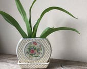 Art Deco Planter   Ceramic Plant Pot With Attached Drip Tray   Floral Motif Planter   Ivy Pot   Cottage Chic Decor   Mother's Day