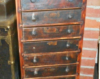 Antique 12 Drawer Factory Tool Storage Cabinet - Local Pick Up Only