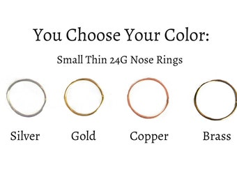 Nose Hoop, Small Nose Rings, Nose Ring, Thin Nose Ring, Nose Earring, Brass, Copper, Gold, Body Jewelry, Handmade, Colorado, Nose Earring