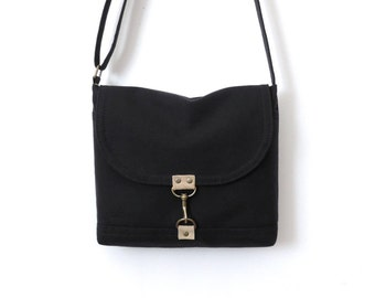Canvas Satchel Bag Crossbody Purse Messenger Bag Small Black SALE