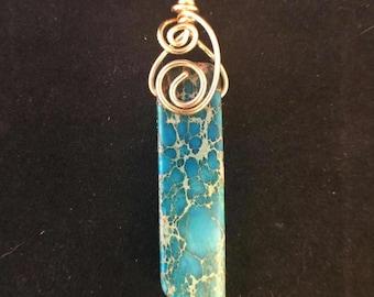Pendant - Rare Imperial Jasper Semi-Precious Stone Pendant with Double Swirl Brass Wire Bail - FREE SHIPPING
