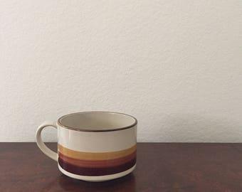 Vintage Soup Mug - Tan with Brown and Yellow Stripes