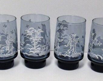 Vintage Blue and White Drinking Glasses, Set of 4, 12 oz.