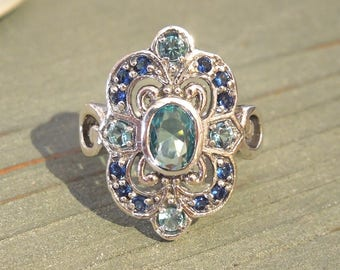 Aquamarine and Sapphire Victorian Style Ring in Sterling Silver